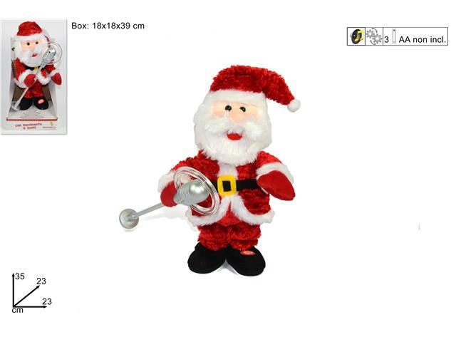 Immagini Natale Movimento.Babbo Natale Cantante Con Musica E Movimento 23x23xh 35cm