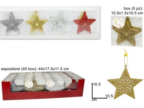 BOX 5 ANGELI APPENDINO GLITTER 4 COLORI ASSORTITI DISPLAY copia