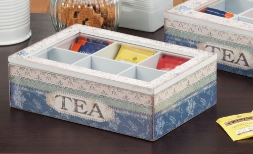 SCATOLA PORTA TE',TEA,THE 6 SCOMPARTI IN MDF ASSORTIMENTO 4 DECORAZIONI 25X17XH.8CM.