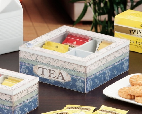 SCATOLA PORTA TE',TEA,THE,TISANE 4 SCOMPARTI IN MDF ASSORTIMENTO 4 DECORAZIONI 18X18XH.7CM.