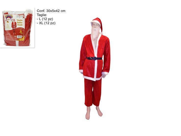 Vestito Babbo Natale Taglia 60.Vestito Babbo Natale Adulti Taglia L Xl Con Barba E Cappello