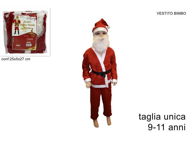Vestito Babbo Natale Taglia 60.Vestito Babbo Natale Bimbo Taglia 9 11 Anni Con Barba E Cappello